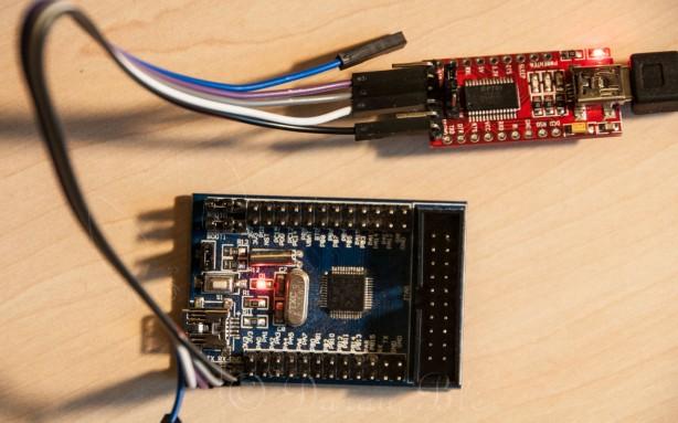 STM32F103C8T6 ARM procesoriaus bandomoji plokštė su USART keitikliu (adapteriu) | Darau, blė